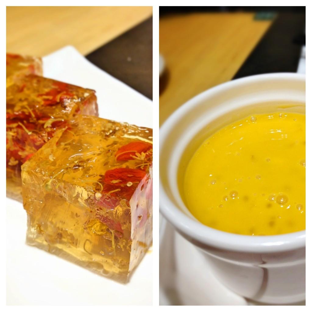 杨枝甘露 Mango Pomelo Sago and 杞子桂花糕 Tonic Medlar & Osmanthus Cake