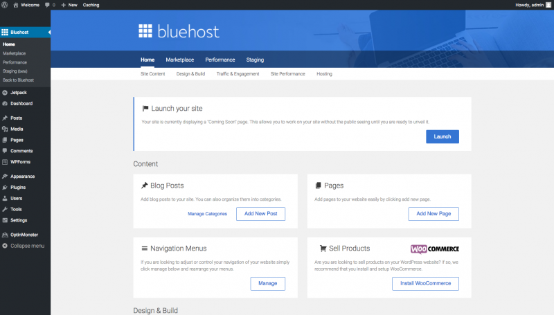 Create A Website with WordPress Bluehost Bluehost Tools