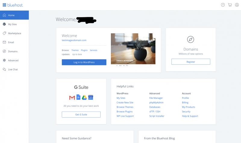 Create A Website With WordPress Bluehost - Bluerock Cpanel