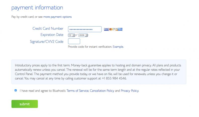 Create A Website WordPress Bluehost Payment Info
