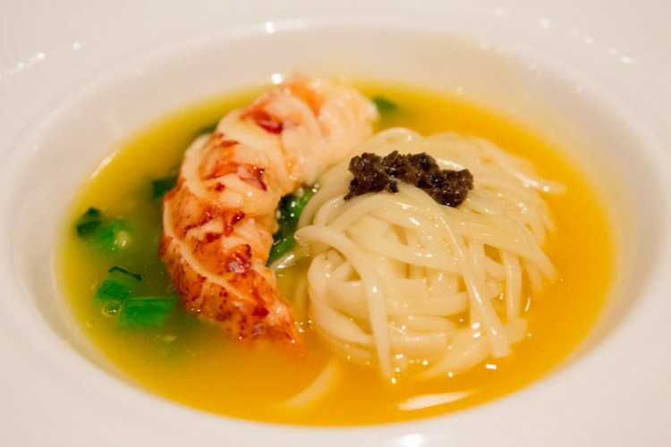 Stewed Inaniwa Udon with Lobster and Truffles Sauce in Supreme stock