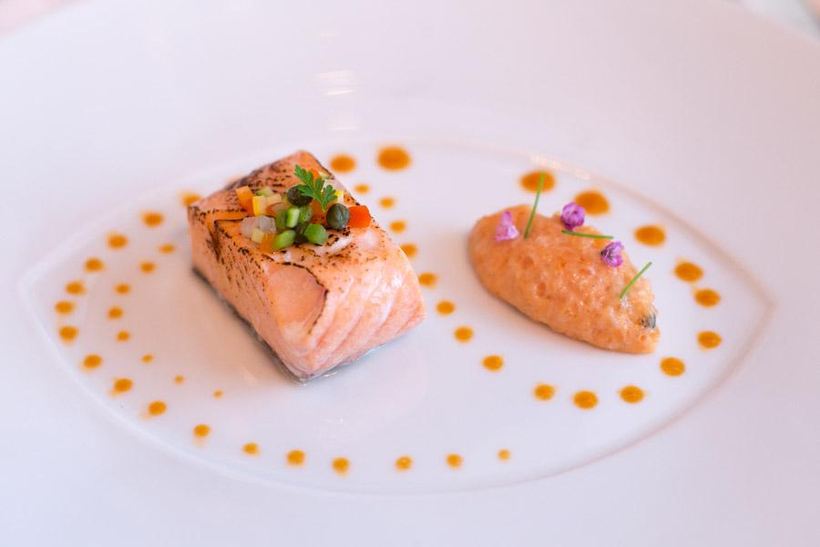 les amis singapore salmon served 2 ways