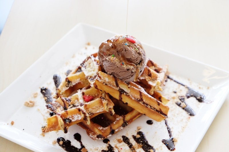 Meat and chil Waffles