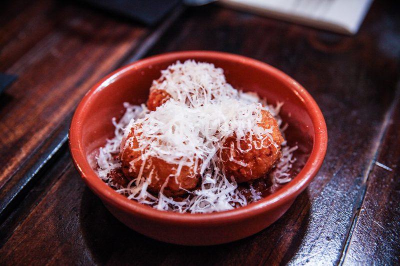 Maggie Joan's New Menu - Cheese, arancini & tomato chutney