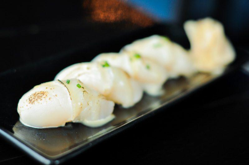 Kinki Seared Hokkaido Scallop Sushi with Yuzu Dressing