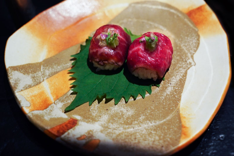 Fat Cow Tochigi wagyu temari sushi