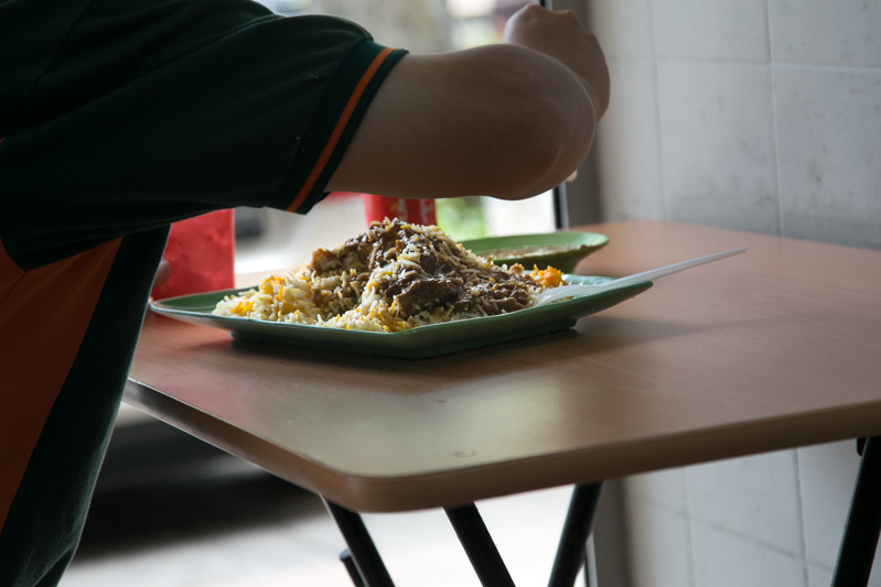 Just about everyone had a plate of nasi briyani to tuck into.