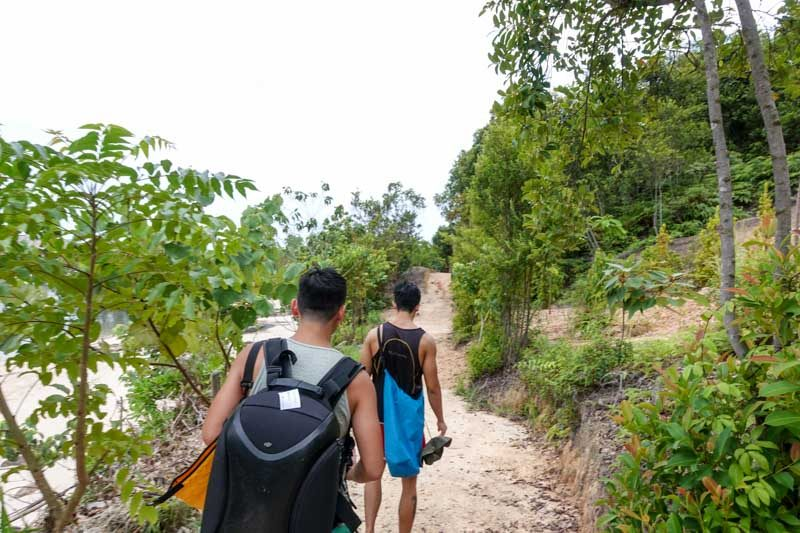 Up for some easy trekking around the island? There's a private beach at the end of the trail!