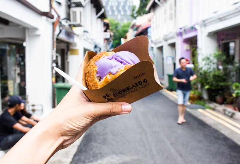 hicp-taro-flavor Hokkaido IceCream Puff Singapore: This Buttery Cold Treat In Haji Lane Isn't From Japan