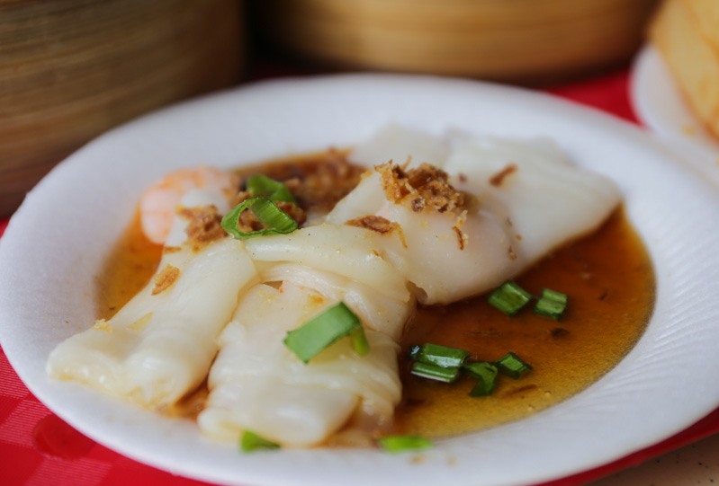 A serving of HK Style Prawn Chee Cheong Fun