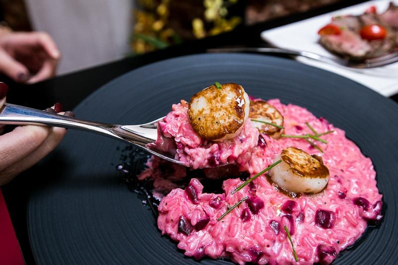 epiphyte pink risotto scallop