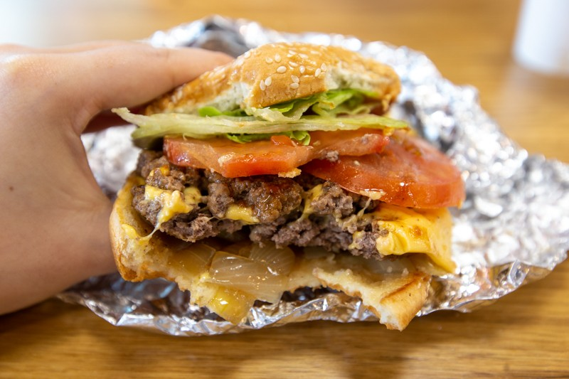 Cross section of Five Guys Cheese Burger