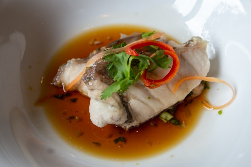 Steamed Seabass with Kim Hwa Ham from Lime Restaurant Parkroyal Collection Pickering 12