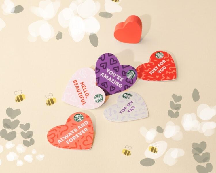 Valentine Heart Die-Cut Starbucks cards