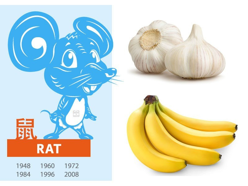 Picture of rat zodiac, bulb of garlic, and banana