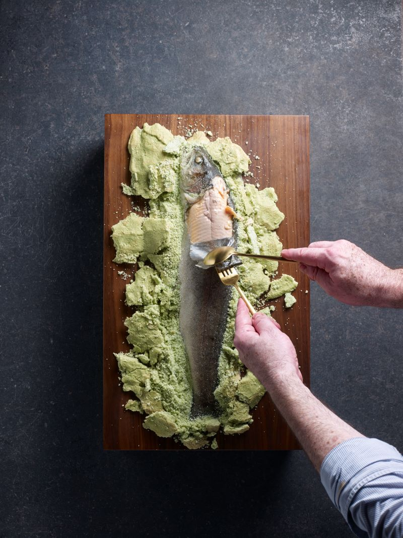 De-boning and portioning of Fire Salt Baked Rainbow Trout at FIRE