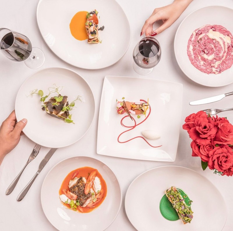 Flatlay of Tablescape's Valentine's Day dishes