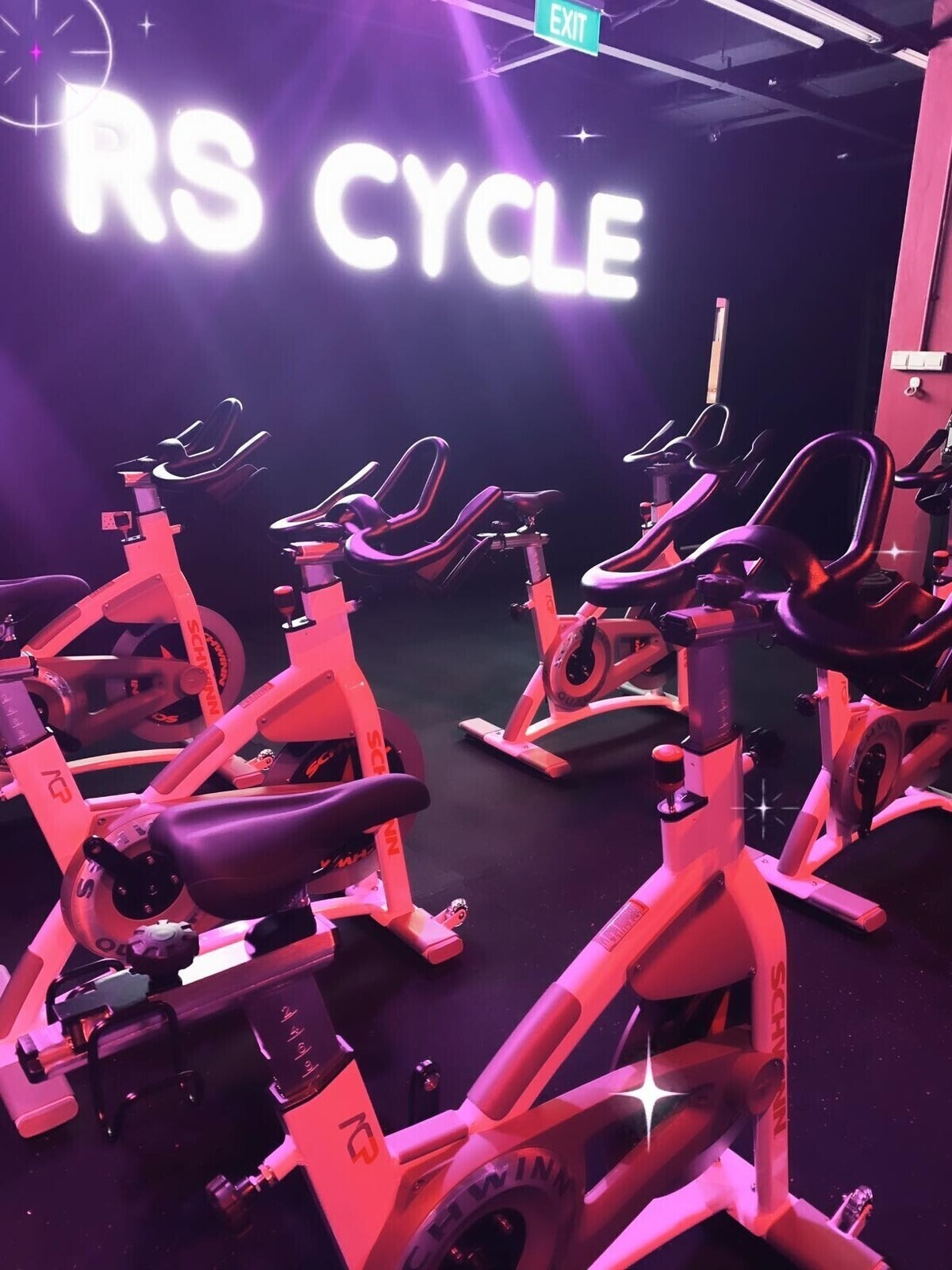 Inside the studio of RS Cycle laden with spin bikes