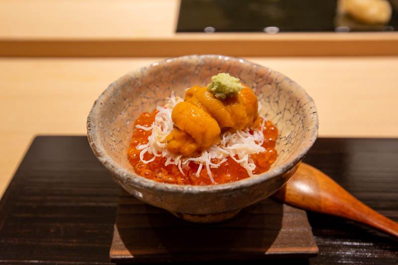 Uni, ikura, and hairy crab rice bowl