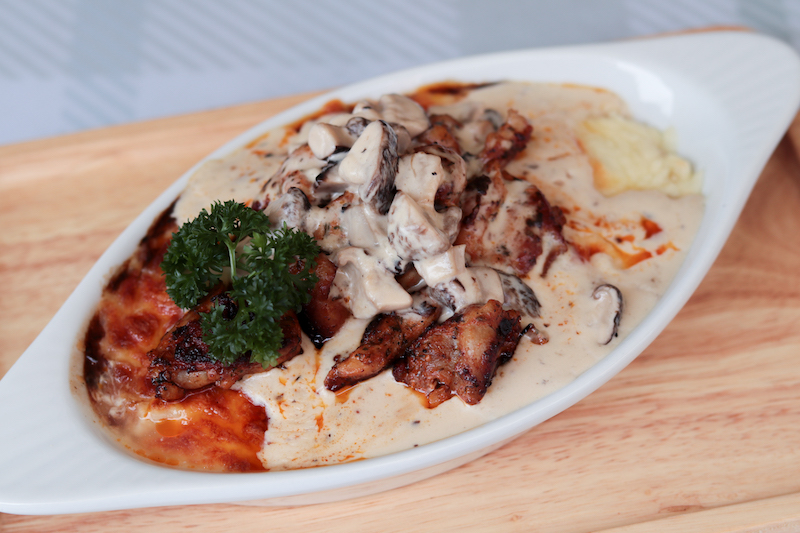 A plate of Mushroom Chicken Baked Rice