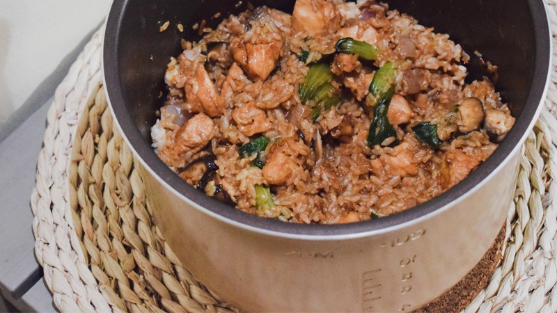 Final product of our simple-stay home recipe: One-pot Chicken And Mushroom Rice
