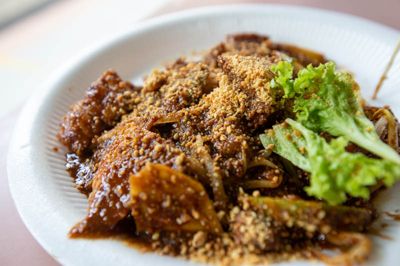 Close up of plate of rojak