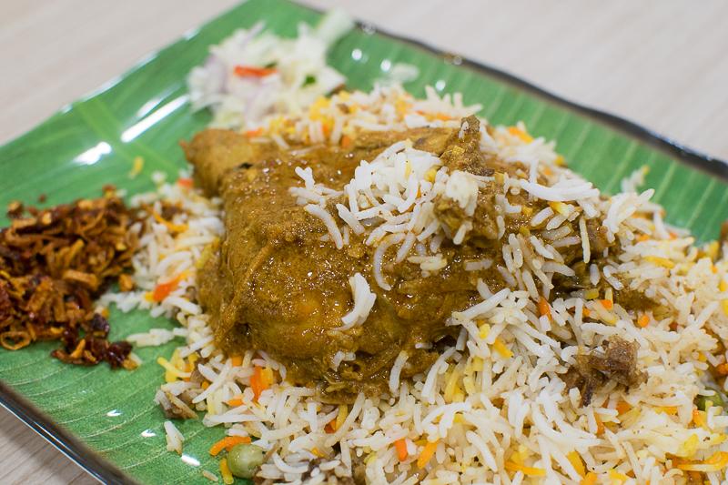 Close up of nasi biryani