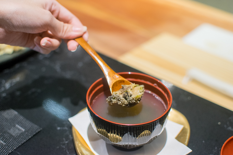 A scooping shot of abalone