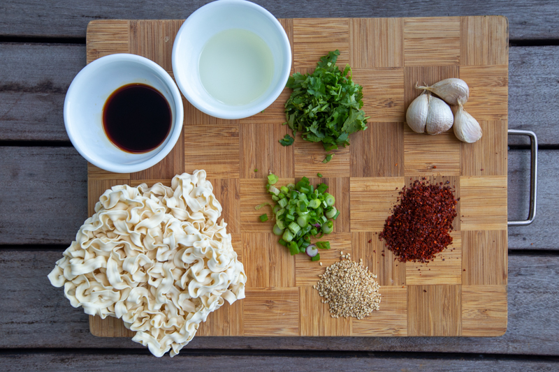 Flat lay of ingredients for Spicy Garlic Noodles