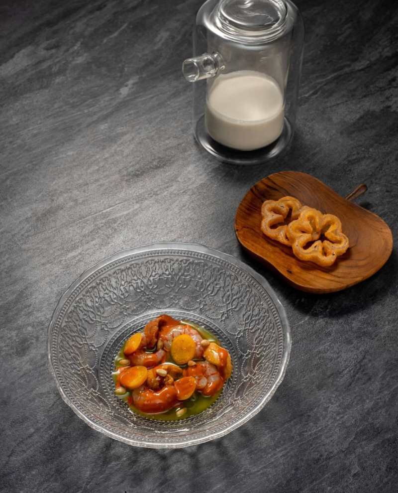 a picture of casa restaurant's Gamba With Uni And Yuzu