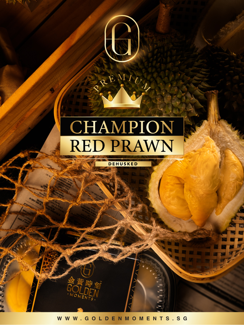 A product shot of Golden Moments red prawn durian