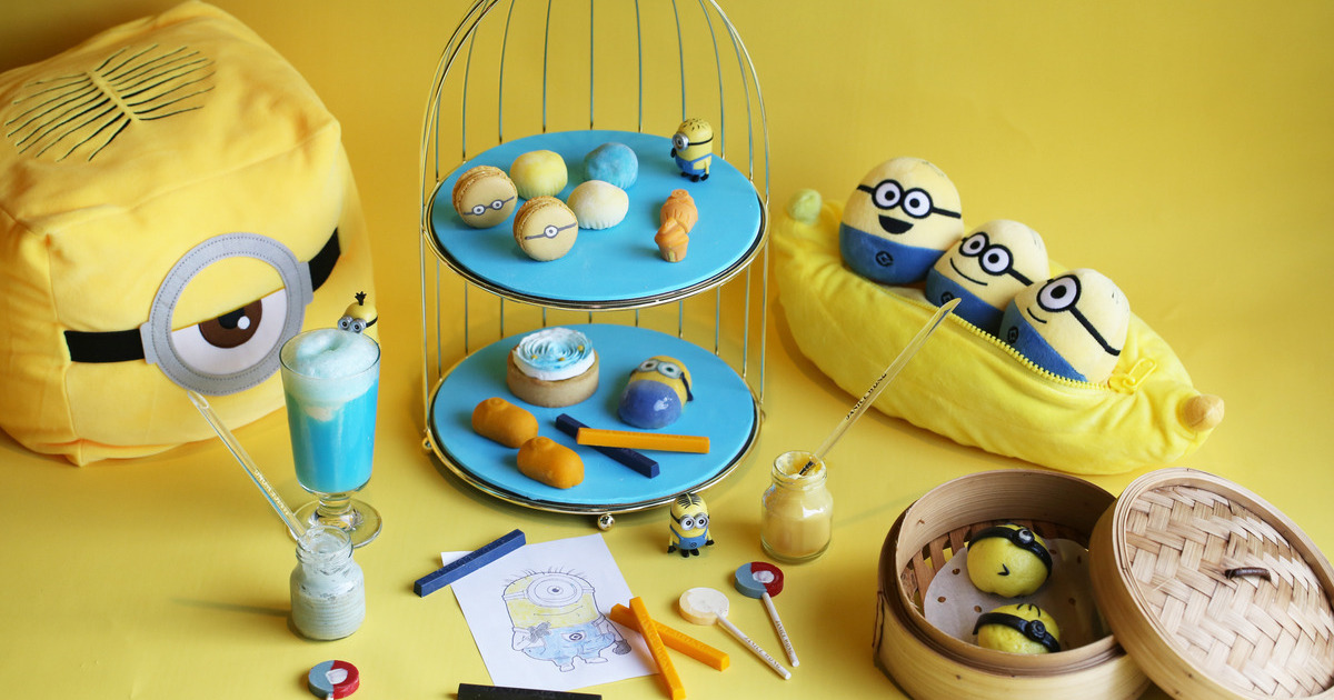 Minion High Tea spread with desserts and plushies