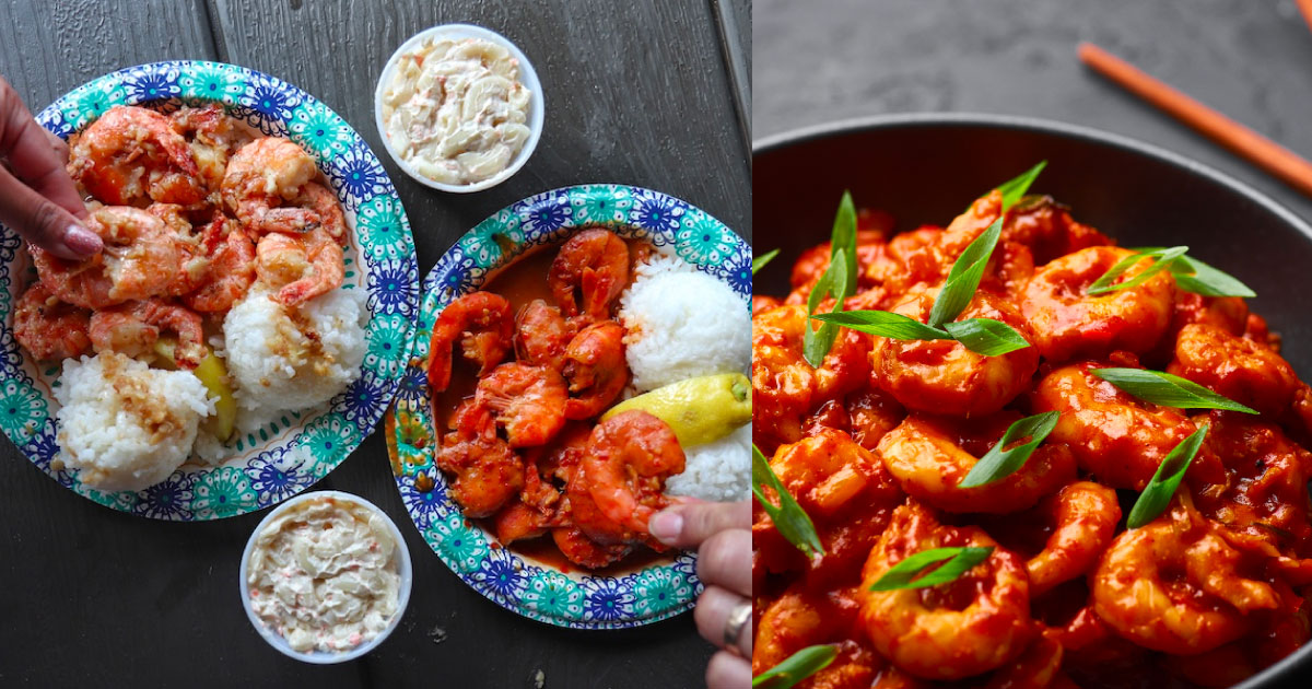 a collage of shrimp scampi and spicy prawn dishes