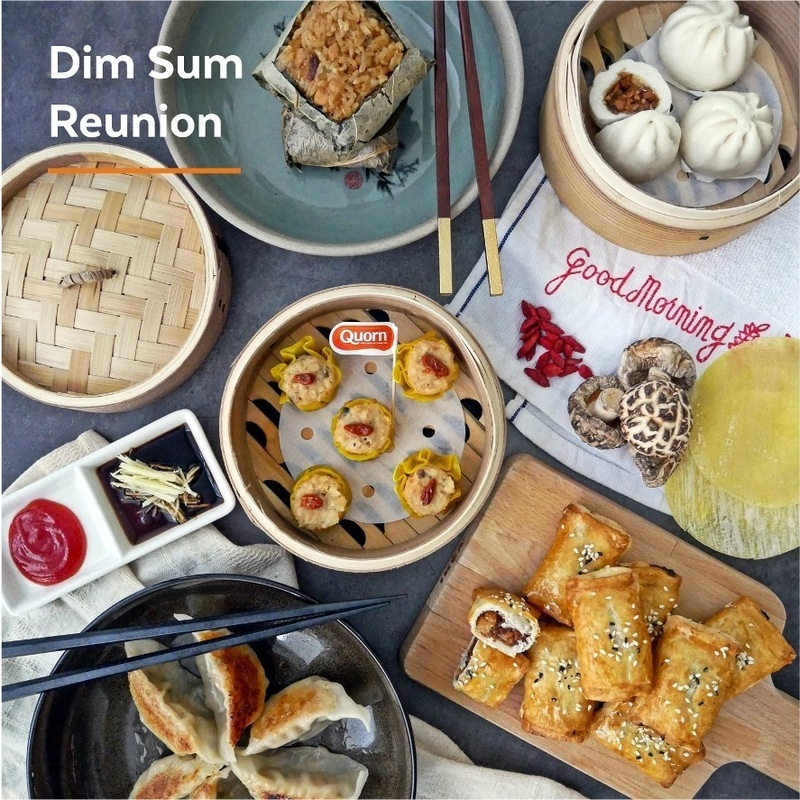 A flatlay of plant-based dim sum from Quorn