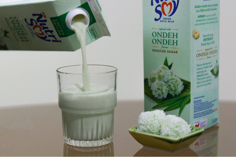 a shot of nutrisoy's ondeh ondeh milk