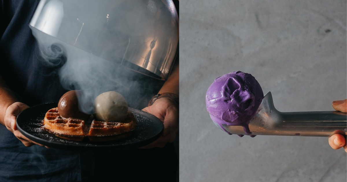 a collage of up in smoke's waffles and ice cream